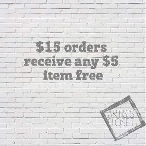 Any $5 item free with a $15 purchase or more